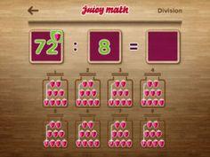 Juicy Math – keersommen en deelsommen Math Division, Calendar, Apps, Holiday Decor, School, App, Life Planner, Appliques