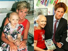 Diana with her charming smile posed with a four-year-old Camila Fiocco during a visit to Northwick Park Hospital in July 1997. Following Diana's work, Prince Harry played with Samantha Ledster, 11, in the oncology department of London's Great Ormond Street Hospital. He made the trip on his 18th birthday