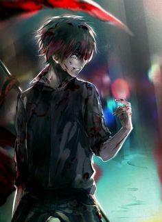 Kaneki Ken, dark hair, ghoul, kagune, blood; Tokyo Ghoul