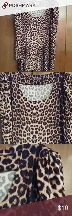 Leopard Tunic Soft and gorgeous leopard print tunic with long sleeves and ruched shoulders. Tiny shoulder pads for a bit of a lift, but can be cut out as well. Like new condition, no stains or damage. Allegra K Tops Tunics