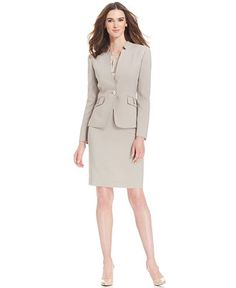 Tahari ASL One-Button Houndstooth Skirt Suit - Wear to Work - Women - Macy's