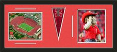 Two framed 8 x 10 inch University of Nebraska photos of Memorial Stadium with a University of Nebraska mini pennant, double matted in team colors to 30 x 12 inches.  The lines show the bottom mat color.  (Pennant design subject to change)  $99.99 @ ArtandMore.com