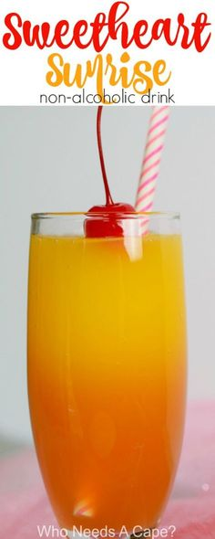 Make your sweetie a Sweetheart Sunrise {non-alcoholic} Drink! Perfect for Valentine's Day, great beverage for the entire family! #valentinesday #beverage #drink #holiday #orangejuice #nonalcoholic #familyfriendly