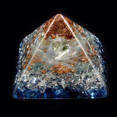 ~*~   Orgone Energy Generator  Pyramid with Tibetan Crystal, Moldavite, Apatite, Rhodizite, Phenacite, Selenite, Copper Nuggets  ~******~