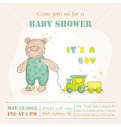 Baby shower or arrival card - with baby bear vector by woodhouse84 on VectorStock®