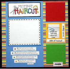 first haircut scrapbook page layout | Details about MY FIRST HAIRCUT Premade Scrapbook Page boy girl baby