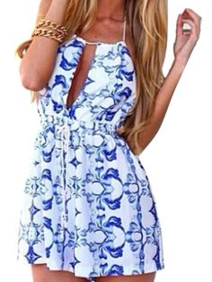 Blue Floral Cut-out Spaghetti Strap Backless Romper