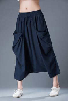 Blue Linen Pants Modern Casual Comfortable by on Etsy Linen Pants Women, Pants For Women, How To Wear Culottes, Navy Pants, White Pants, Cropped Pants, Pants Pattern, Harem Pants, Women Wear