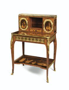 Bonheur du jour en placage de bois de rose et marqueterie de bois à montures de bronze doré de la fin de l'époque Louis XV, estampillé L.PIONIEZ et JME