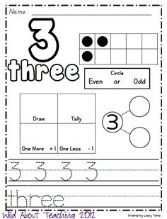 Here's another freebie...but this time it's MATH related! :) This pack includes handwriting practice, ten frame examples, even vs. odd, on...