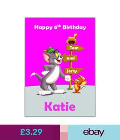 Cards Amp Stationery Tom And Jerry Pink Birthday Card Personalised With Any Wording Ebay