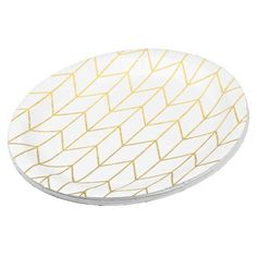 Choose from a variety of 9 inch Gold paper plates or create your own! Disposable Gold plates from Zazzle. Shop now for custom party supplies u0026 more!  sc 1 st  Pinterest & Gold Chevron on Black Background Modern Chic Paper Plate | Black ...