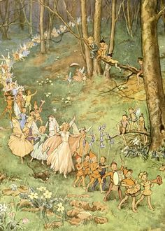 Fairy folklore has been around for centuries. Many people actually believe fairies exist in another realm that is invisible to the naked eye. Vintage Fairies, Vintage Art, Fantasy Kunst, Fantasy Art, Art And Illustration, Food Illustrations, Elfen Fantasy, Fairytale Art, Flower Fairies