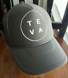 TEVA Trucker Hat Mesh Snap back Hat MTB Cycling Gray EUC