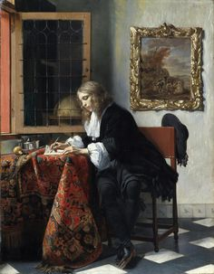 Gabriel Metsu - Man Writing a Letter, 1665 at National Gallery of Ireland - Dublin Ireland Also viewed at 2017 Vermeer and the Masters Exhibit at National Gallery of Art - Washington DC Johannes Vermeer, National Gallery Of Art, Art Gallery, National Art, Anthony Van Dyck, Caravaggio, Gabriel Metsu, Vermeer Paintings, Dutch Golden Age