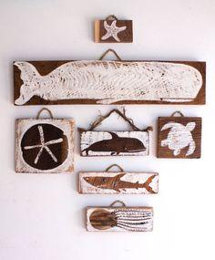 Beach Decor Sea Life Collection Wall Hanging Handmade Reclaimed Wood Whale Sand…