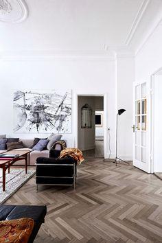 herringbone parquet floor   photo birgitta wolfgang, love the color of the floor