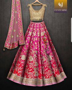 Image may contain: people standing Indian Wedding Gowns, Desi Wedding Dresses, Indian Bridal Lehenga, Half Saree Designs, Saree Blouse Neck Designs, Lehenga Designs, Dress Indian Style, Indian Dresses, Pakistani Outfits