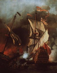 Willem van de Velde the Younger, Two-Decker: The Action with Barbary Pirates, c. 1678