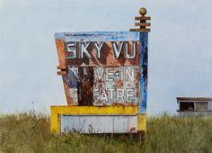 "Daniel Blagg,Sky Vue, 2015, watercolor on paper, 22 x 30"". SOLD"