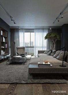 (via A Dark and Calming Bachelor Bad with Natural... | Fuck Yeah Interior Designs