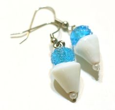 Blue Snowcone Glass Lampwork Bead Earrings by SummerWilson8, $4.00