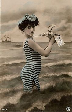 Bathing Beauty - 100 year old hand tinted photo post card of a beautiful bathing beauty