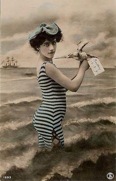 Bathing Beauty - Hand tinted photo post card of a beautiful bathing beauty
