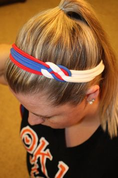Texas Rangers Inspired Red, White and Blue Celtic Sailors Knot Headband is Perfect for Team Sports, Running, Cheer, Yoga, Softball, Basketball, Volleyball, School Spirit, Baby Shower Gifts, Birthday Gifts, New Baby Gifts, Photo Props, Matching Mother Daughter Twin Friend Sister Photos, Family Photos, & Game Day! No Slip Stay Put Headwraps in Newborn, Baby, Toddler, Child, Kid, Teen, & Adult Sizes by petesboutique