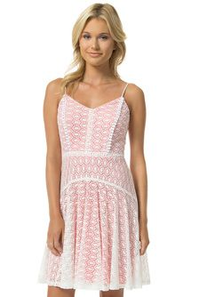 Front view of Teeze Me Sleeveless Spaghetti Strap Lace Overlay Dress - Natural/Coral