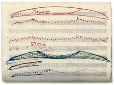 """Arvo Pärt- """"Underlying the apparent simplicity of Pärt's music are his compositional systems. Above, ''melodical drawing'' (1976) meant to convey a bird's wing movements."""""""