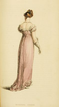 Fashion Plate (Evening Dress): Rudolph Ackermann (England, London, 1764-1834), Series 1 Vol 10: November 1813, English, hand-coloured engraving on paper.