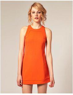 Vivid tangerine shift dress