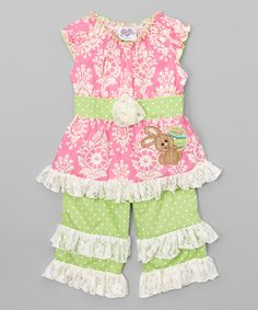 Love this Pink Easter Damask Tunic & Pants - Infant, Toddler & Girls by AnnLoren on #zulily! #zulilyfinds