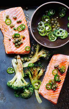 Roasted Salmon and Broccoli with Chili Caper Vinaigrette