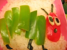 Cute Food For Kids?: 22 The Very Hungry Caterpillar inspired food creations red and green peppers