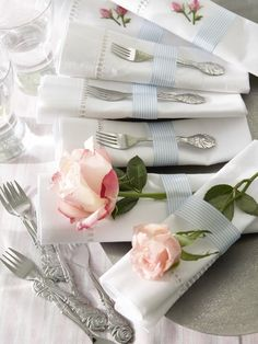 white linens with roses
