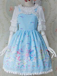 Sweet Lolita Dress Lace Ruffled Milanoo Lolita Dress Cute Printed Lolita Jumper Skirt With Lace Trim