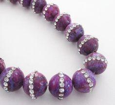 Jade Inlaid Round Beads  Purple Jade Rhinestone by BijiBijoux