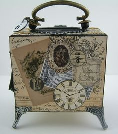 Artfully Musing: Video Tutorial – Making a Chest Out Of Matchboxes – Designed for Alpha Stamps Altered Cigar Boxes, Altered Tins, Altered Art, Cigar Box Projects, Cigar Box Crafts, Cigar Box Art, Cigar Box Purse, Decoupage Box, Decoupage Vintage