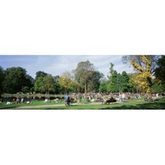 People Relaxing In The Park Vondel Park Amsterdam Netherlands Canvas Art - Panoramic Images (18 x 6)