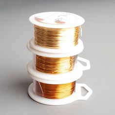 Premium Quality Jewelry Making Craft Wire ,The listing includes 3 spools of 28 gauge (0.3mm) dead soft colored wire, each spool is 120 feet long / 40 Yard / 36 M, Wonderful Silver plated non tarnish craft wires, this wires combo includes the following shades : E1 - Gold (top)Honey Gold - NEW !!! (middle)E2 - antique gold (bottom) Don't know my great wire crochet patterns ? check the tutorials section on my shop : Crochet with wire patterns&My Crochet with Wire kits section . ~~~~~~~~~~~~~~~~ Wire Spool, Spool Knitting, Tarnished Jewelry, Wire Crochet, Shades Of Gold, Plate Crafts, Metal Crafts, Gold Wire, Gold Filled Jewelry