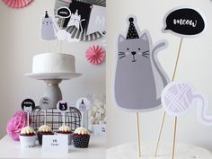 My Party Design !'s Birthday / Cats - Modern Cat Party at Catch My Party Cat Birthday, 6th Birthday Parties, Barbie Birthday, Kitty Party, Party Kit, Party Packs, Fete Marie, Cat Cake Topper, Party Themes