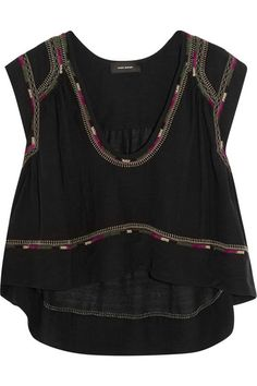 ISABEL MARANT Curtis Cropped Embroidered Silk-Bourette Top. #isabelmarant #cloth #tops