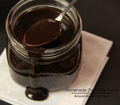 Homemade Chocolate Syrup...only 4 ingredients (naturally gluten free, dairy free, and vegan)...plus it can easily be made sugar free too!