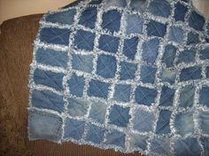 This Denim Rag Quilt is made from recycled denim jeans.   It is 40 x 36 inches.   $74.99