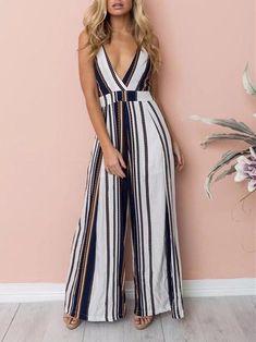 995304739adb DaysCloth Multicolor Striped Tie Back Cut Out Elastic Waist Long Jumpsuit