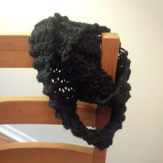 Hand knit infinity scarf, black Knits, Hand Knitting, Infinity, Hair Styles, Clothes, Accessories, Beauty, Black, Fashion