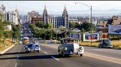 Looking down Main Street from Capitol Hill, Salt Lake City, Utah, mid 1940s, Main Street, Street View, Ogden Utah, Salt Lake City Utah, Outdoor Photos, Us History, Latter Day Saints, Filming Locations