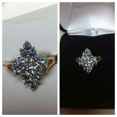 """40% BUNDLE DISCOUNT! FREE SHIPPING ON BUNDLES! Blue Topaz Cluster set in 10k Yellow Gold, approximately size 4.5, sparkling, lots of stones in this cluster statement ring! ADD TO A BUNDLE! 40% BUNDLE DISCOUNT! FREE SHIPPING ON BUNDLES!! """"OFFER"""" $6 LESS ON BUNDLES! Price firm unless Bundled. Only accepting """"offers"""" of $6 less on Bundles for shipping reimbursement. Jewelry Rings"""